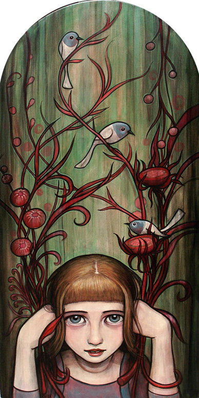 "Kelly Vivanco ""Handfuls"" / Acrylic on wood / 10.5x21"""