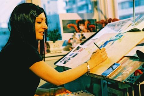 Camilla at work