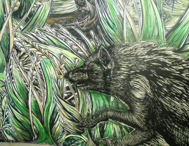 Close up of McNett's monsterous 20' long by 8' high mural