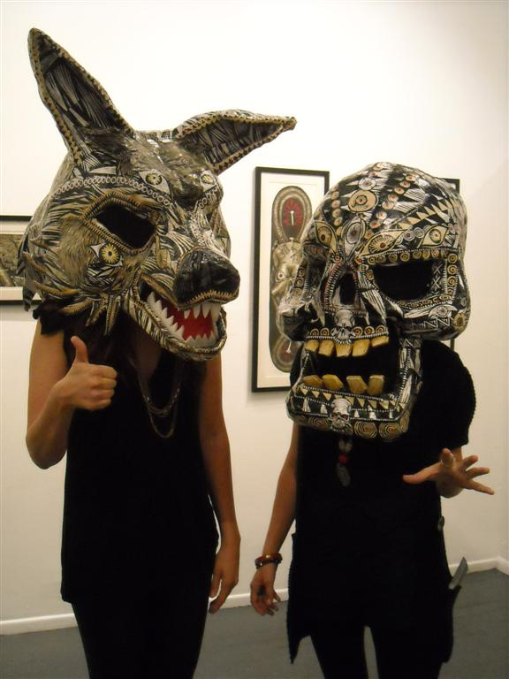 McNett's amazing masks were being modeled throughout the evening