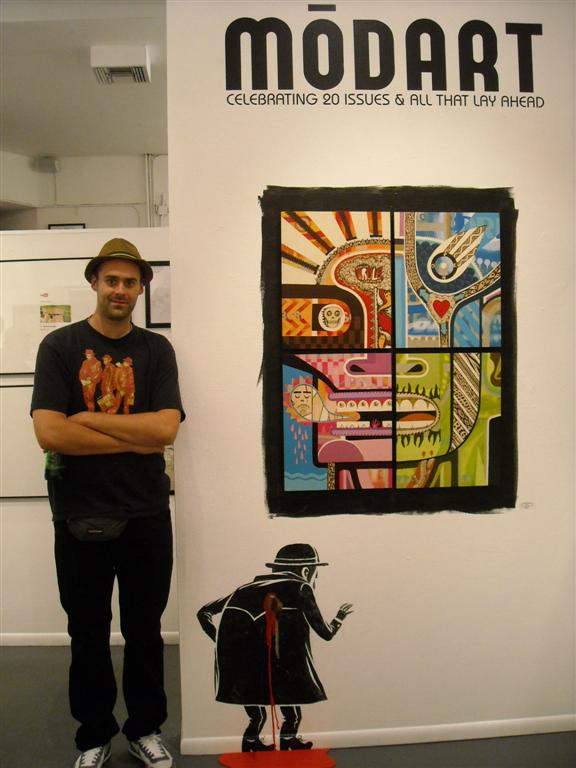 Guillaume Desmarets alongside his work and install