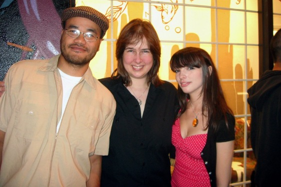Amanda Erlanson with artists Andrew Hem and Sarah Joncas