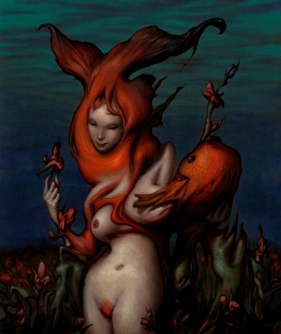"Esao Andrews ""Sea Queen"" - Oil on wood panel - 20x24"""