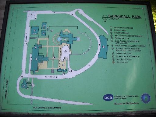 Map detailing the sprawling grounds of the Barnsdall Art Park