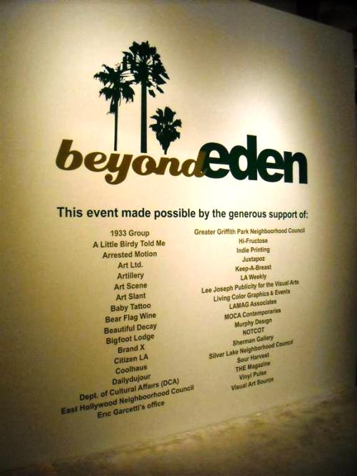 Title wall of Beyond Eden - thank you again to all that helped to make this amazing event possible