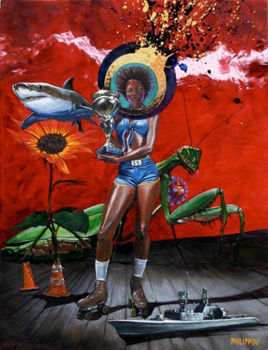 Tony Philippou 'What Winning Looks Like' - oil on wood panel