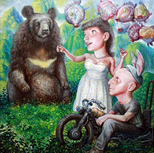 Scott G. Brooks 'Love In Danger' - 24x24 - oil on canvas