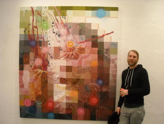 Damon Soule alongside his work 'Portrait Of The Artist As A Square'