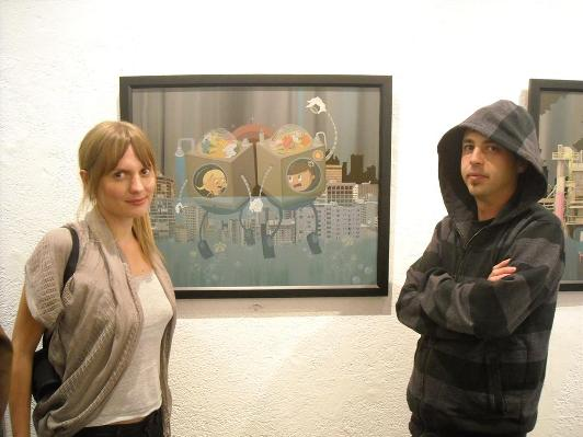 Dabs Myla alongside their work