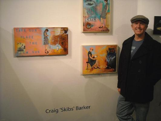 Craig 'Skibs' Barker alongside his work