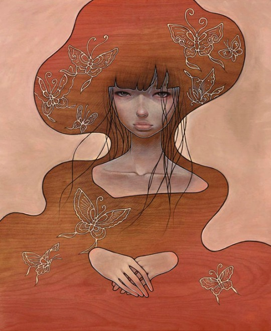 Audrey Kawasaki 'Flutter Away' - featuring in the Hi-Fructose 5 Year Anniversary Exhibition this Sat at Copro Gallery
