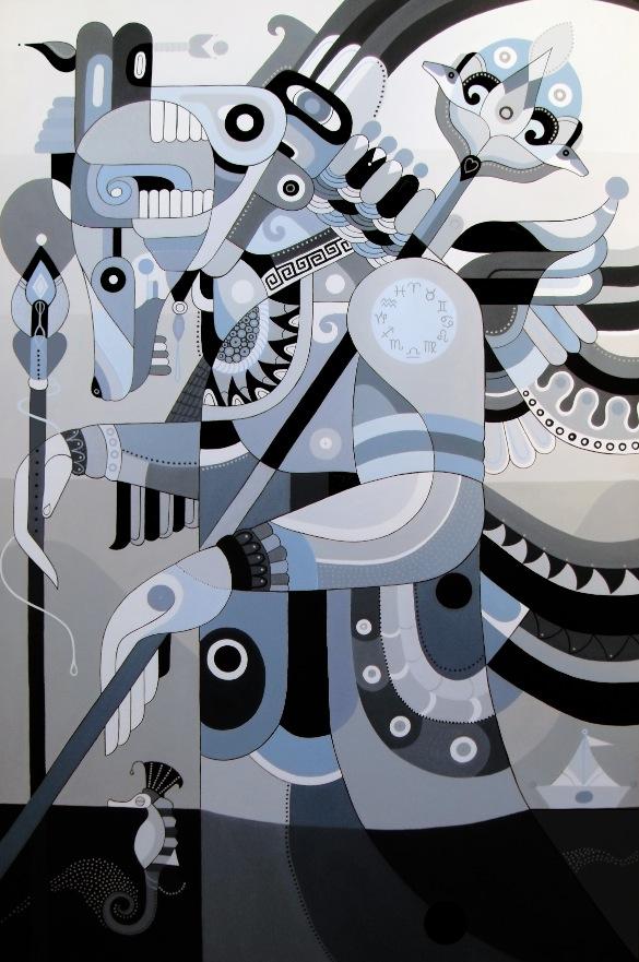 """Fernando Chamarelli """"Guerreiro Da Lua (Moon Warrior)"""" - 23.5x35.5 inches - acrylic on canvas (2011)"""